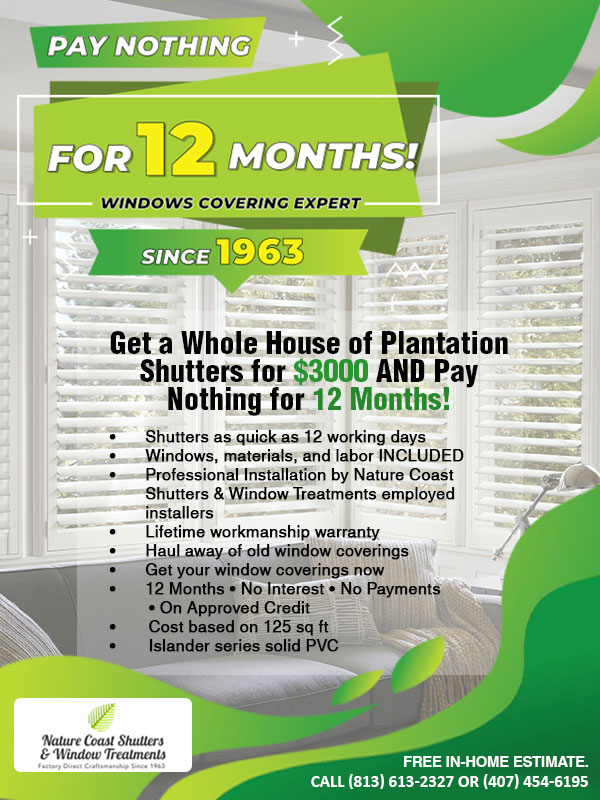 Nature Coast Shutters & Window Treatments Whole House Plantation Shutters
